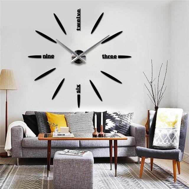 Desain Modern DIY 3D Besar waktu Jam Dinding Dekorasi Rumah Stiker Dinding Menonton Reloj kuarsa Horloge