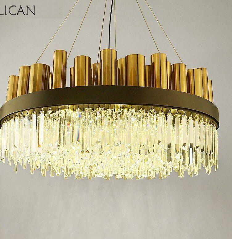 Lican Post Modern Mewah Crystal Lampu Gantung untuk Lobi Ruang Tamu Villa Gold Gantung Lampu Gantung Perlengkapan Pencahayaan Dekorasi Rumah