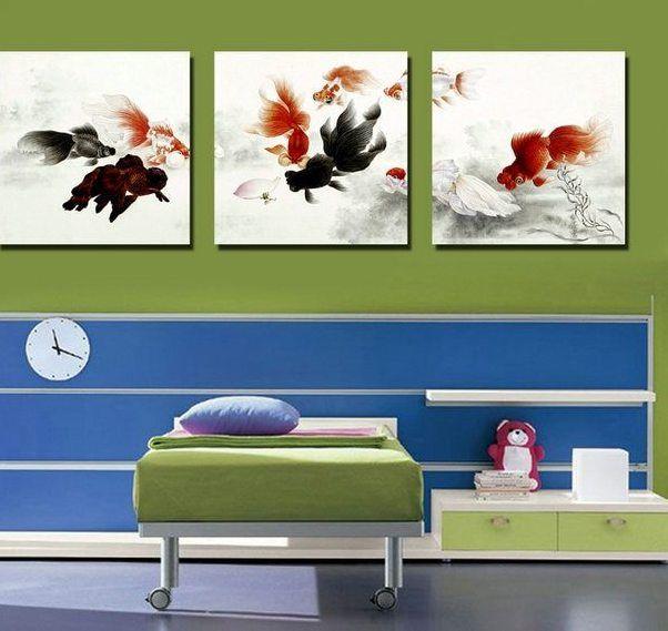 Ukuran besar 3 pieces ikan gambar modern wall art painting cetak pada kanvas gambar untuk dekorasi tanpa bingkai