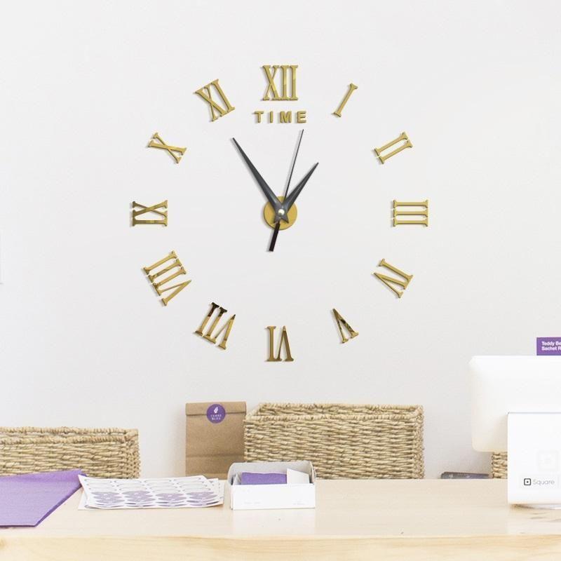 Cara Untuk Deko Rumah Ruang Tamu Baik Besar 3d Diy Jam Dinding Roman Angka Jam Dinding Cermin Tanpa