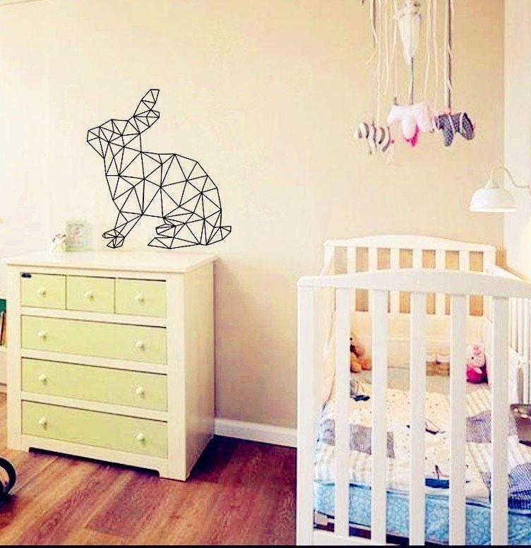 Geometric Kelinci Art Poster Gambar dinding untuk Dekorasi Rumah bayi Stiker Dinding untuk kamar anak anak Dinding decals Kustom Warna D631