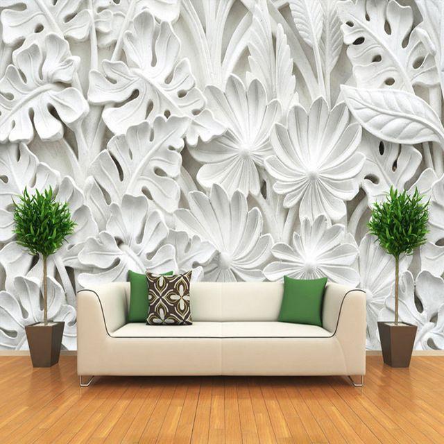 Sederhana Modern Abstrak Seni Wallpaper 3D Relief Putih Daun Pola Gypsum Lukisan Dinding Ruang Tamu TV