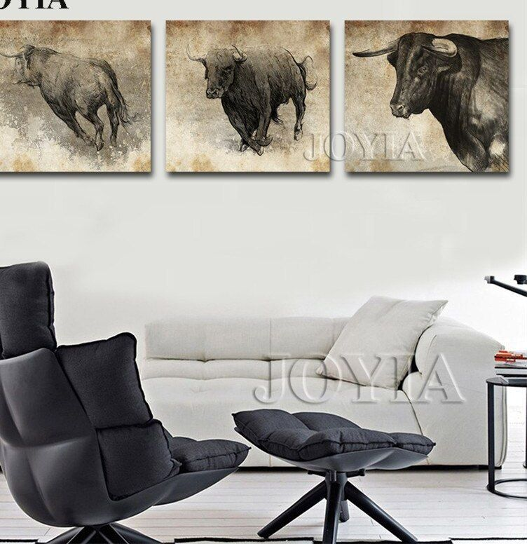Cara Untuk Dekorasi Hiasan Dalaman Terbaik Bilik Tidur Utama Hebat Ù© ‿ Û¶adu Banteng Banteng Lukisan Kanvas Wall Art Pertempuran