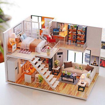 Cara Untuk Dekorasi Hiasan Dalaman Terbaik Kondominium Hebat Loteng Apartemen Miniatur Boneka Kayu Boneka