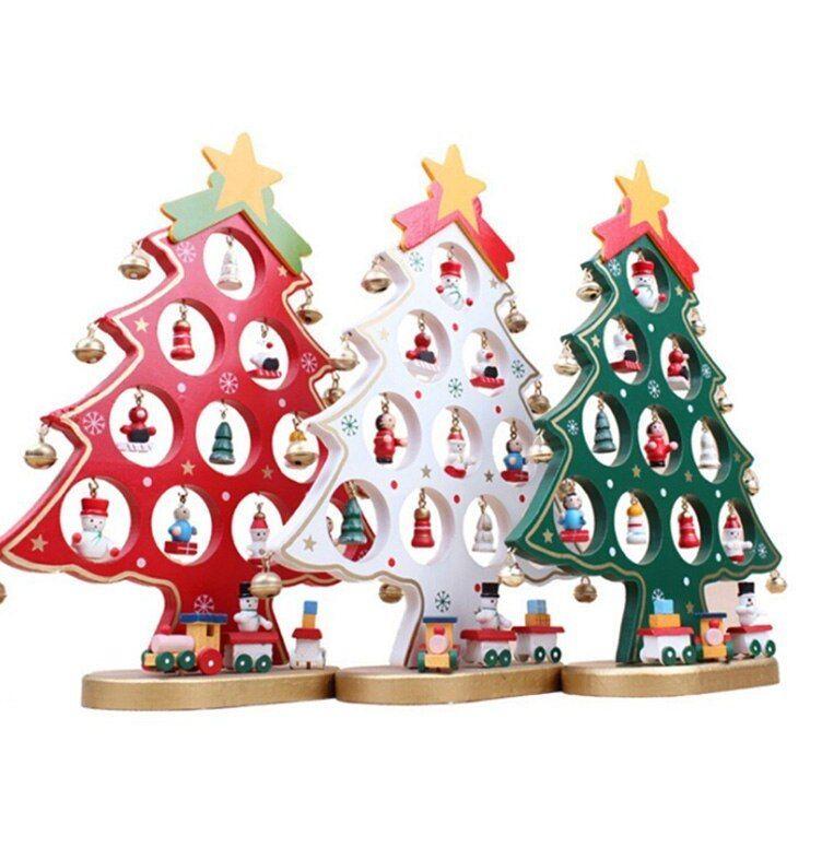 Terbaik Hadiah Natal Kayu Buatan Pohon Natal Ornamen Dekorasi DIY Mini Ukuran Meja Meja Xmas Pohon Dekorasi Rumah