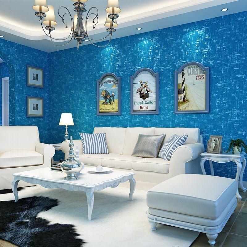 Gaya Mediterania Belang Biru Wallpaper Roll Dekorasi Rumah Modern Warna Solid Kertas Dinding untuk Ruang Tamu Kamar Tidur Anak anak Dinding di Wallpaper