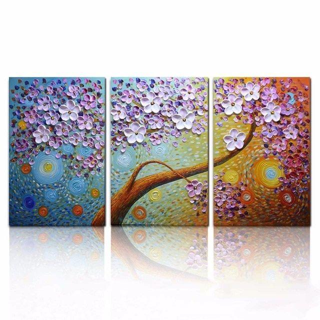 Tangan Dicat 3D Bunga Lukisan Di Atas Kanvas 3 Panel Dinding untuk Ruang Tamu
