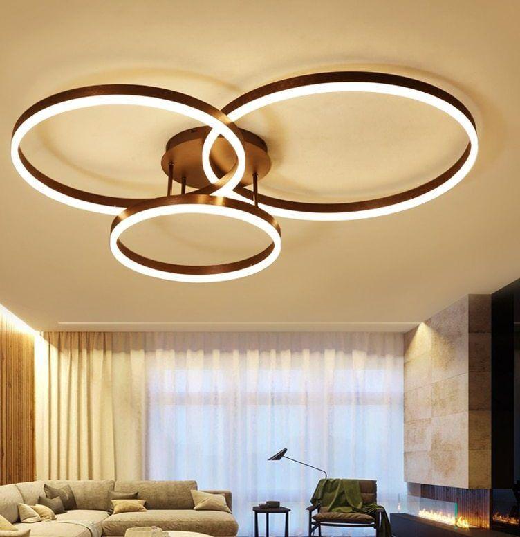 Cara Untuk Dekorasi Hiasan Dalaman Terbaik Ruang Tamu Panjang Terhebat Baru Permukaan Mounted nordic Seni Cincin Moderen Lampu Chandelier