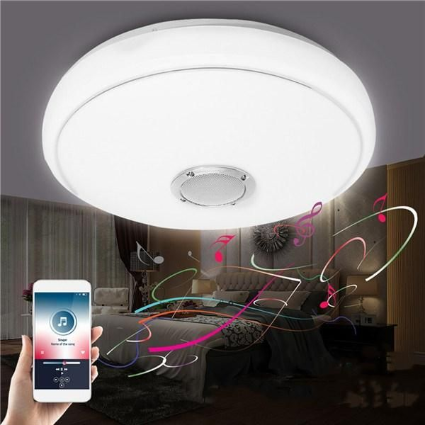 24W Modern LED Lampu Langit langit Bluetooth Speaker Musik Lampu untuk Kamar Tidur Ruang Tamu