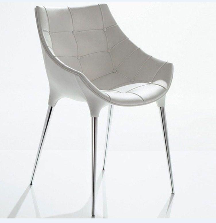 Putih PU Kulit Logam Luang kaki Kursi Makan Kursi Ruang Tamu