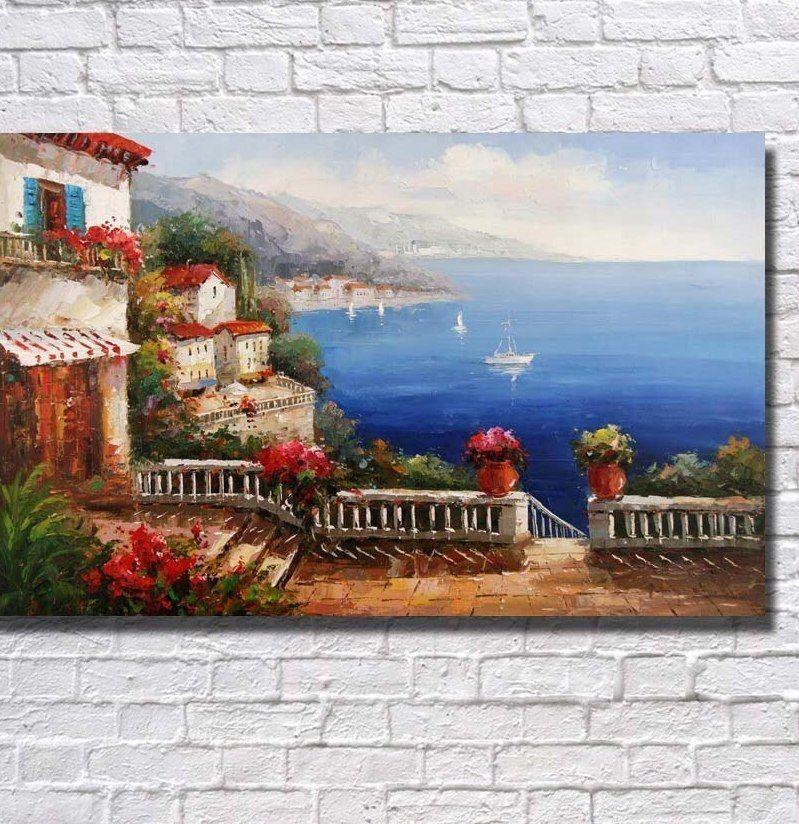 Sealandscape Lukisan Minyak Besar Kanvas Seni Dekorasi Rumah Ruang Tamu Dinding Gambar Handpainted Pisau Lukisan No frame