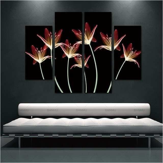 4 Pcs dinding lukisan Bunga Kanvas Lukisan Dekorasi Rumah Gambar Dinding Untuk Ruang Tamu Gambar Lily