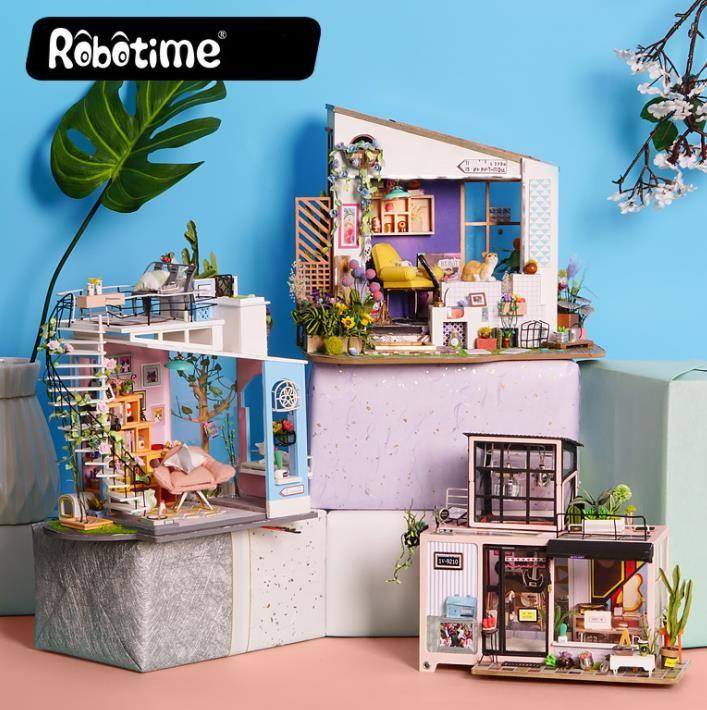 Cara Untuk Dekorasi Hiasan Dalaman Terbaik Rumah Kondominium Penting Robotime Dg12 Doras Loft Diy Boneka 27 23 22 Cm Dengan