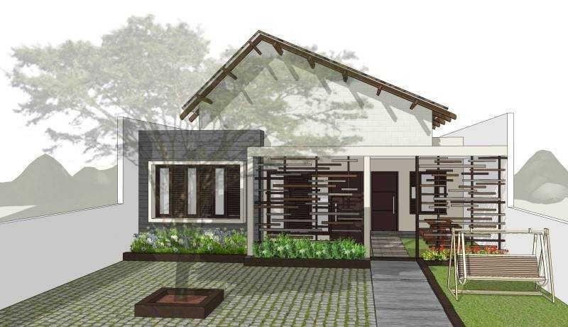 Rumah minimalis dengan kisi kisi kayu dan halaman luas untuk bermain anak Toraja Villa House