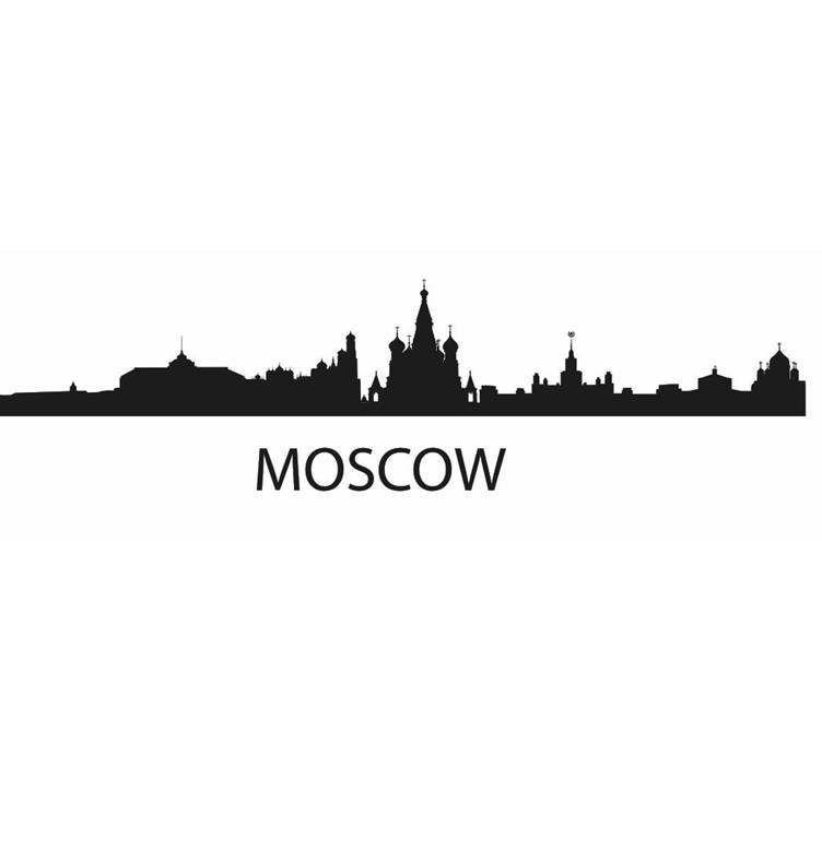 Dctal Kota Moskwa Stiker Landmark Kaki Langit Dinding Stiker Sketsa Stiker Poster Parede Rumah Dekor Stiker