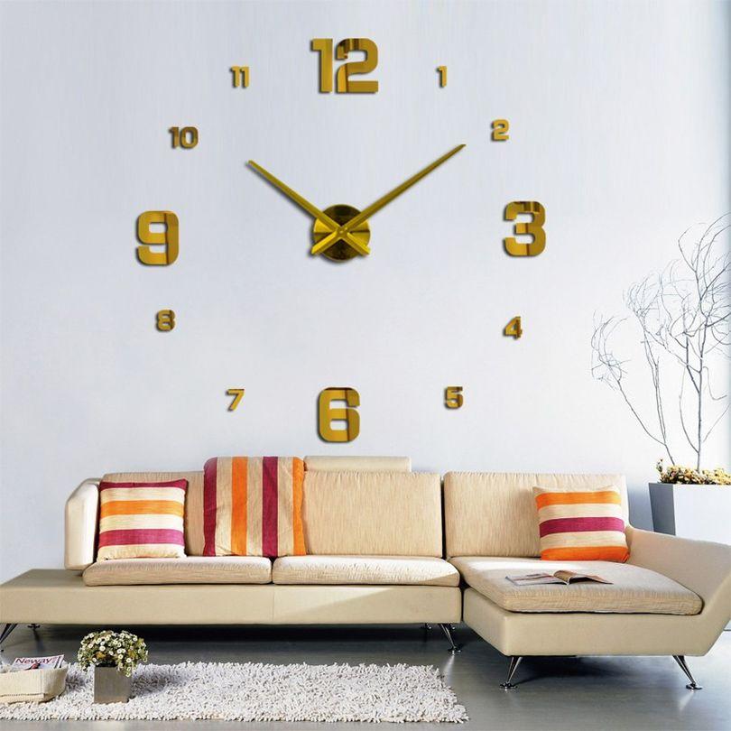 Cara Untuk Dekorasi Hiasan Dalaman Terbaik Rumah Studio Terbaik Modern Bisu Diy Tanpa Bingkai Besar Jam Dinding 3d Cermin Stiker