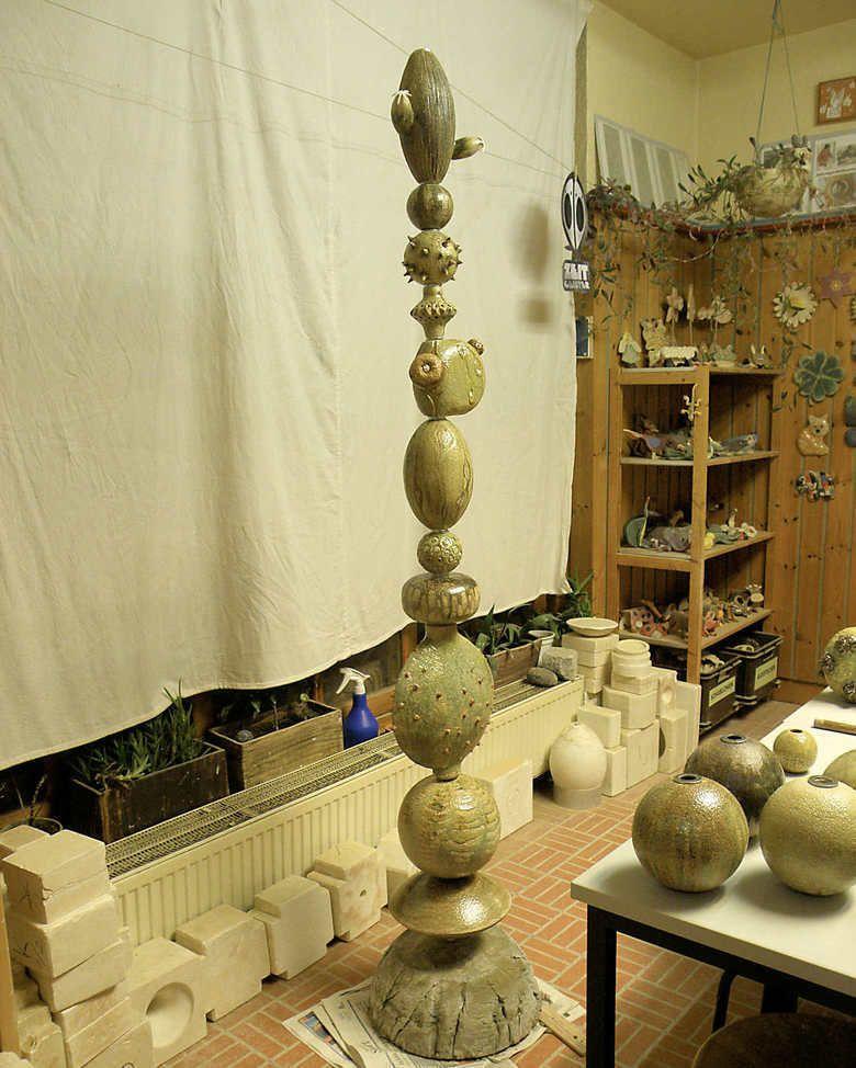 Dekor Kaktusohr Cacti Kaktusstele Keramikstele Design Hannover Keramik Entwurf Gartenstele Oxid Oxideinf rbung Glasur Glasurauftrag