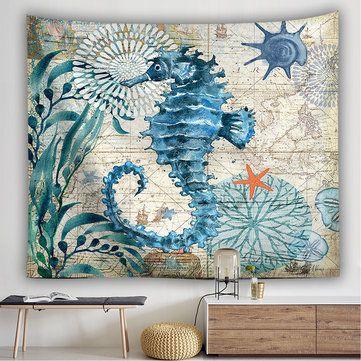 Kuda Laut Besar Hiasan Dinding Dekorasi Hiasan Boho Bohemian Seprai Pantai