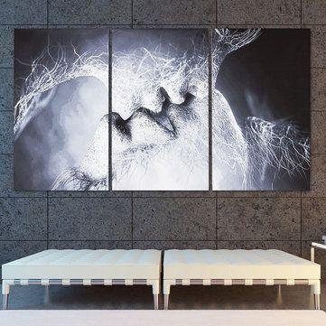 Cara Untuk Dekorasi Hiasan Dalaman Terbaik Surau Sekolah Berguna 3 Pcs Cinta Ciuman Abstrak Kanvas Cetak Lukisan Gambar