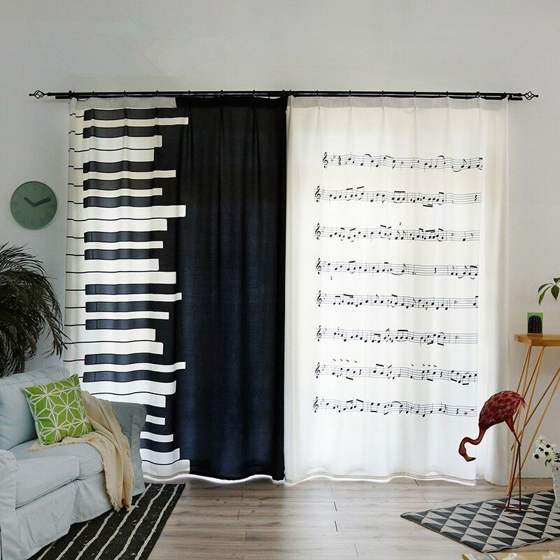 3D Tirai Nan Cantik Putih Piano Keyboard Catatan Musik Pola Beludru Tebal Kapas Dekorasi Kamar Tidur Tirai untuk Living Room di Tirai dari Rumah & Taman