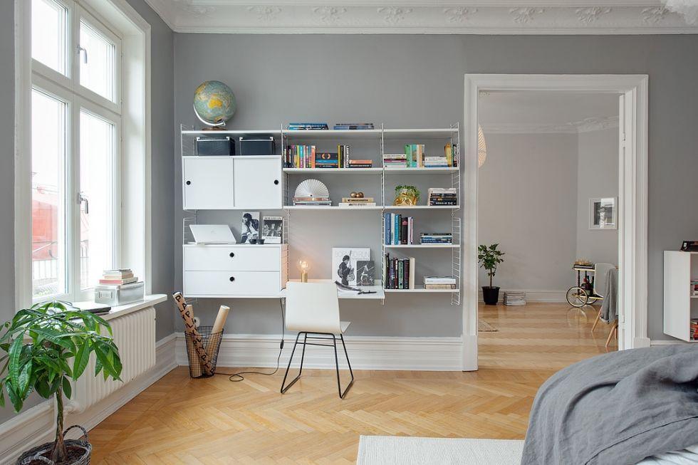 Dekorasi Scandinavia lazimnya berwarna kontras dengan estatik hitam dan putih – dan ini membuatkan kami teruja melihat dinding kelabu kembali dalam budaya
