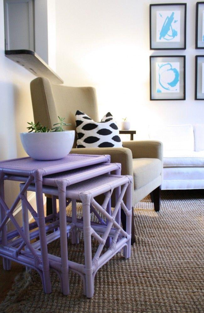 Meja kopi lembut ungu akan menghiasi ruang tamu