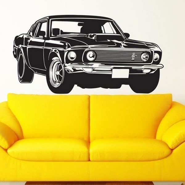 Cara Untuk Hiasan Dalaman Rumah Flat Hebat ford Mustang Balap Mobil Stiker Dinding Ruang Tamu Dekorasi