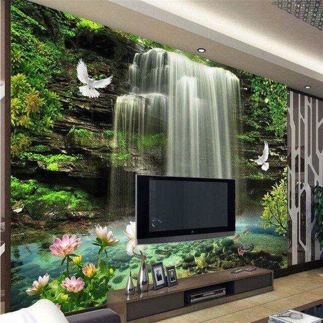 Beibehang Wallpaper Mural Dinding Stiker Estetika Jatuh Televisi Dinding Wallpaper untuk Dinding 3 D Papel De