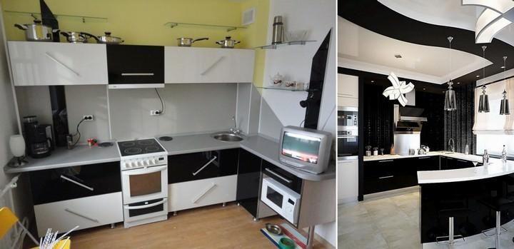 Kabinet dapur hitam dan putih adalah idea reka bentuk yang ber a yang sesuai untuk dapur dalaman