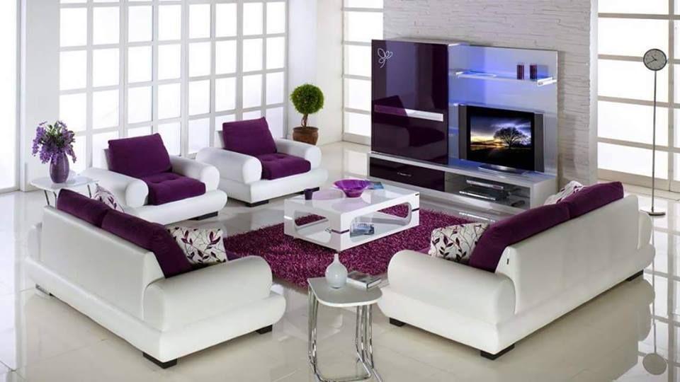 VIEW IN GALLERY Sofa putih mewah dengan pop warna ungu hiasan ruang tamu moden minimalis