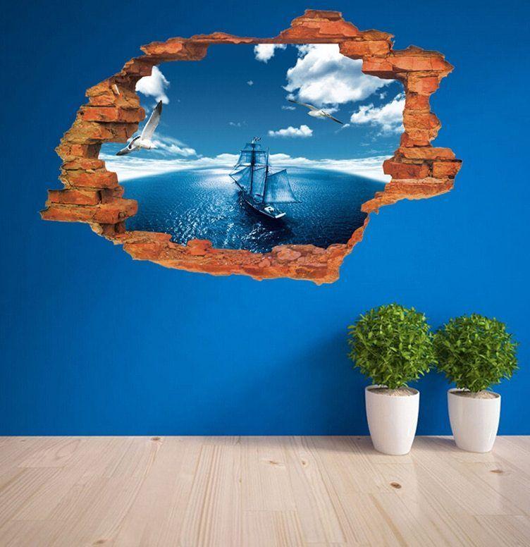 50 70 CM 3D Biru Langit Laut Berlayar Stiker Dekorasi Dinding Stiker untuk Kamar Tidur Anak