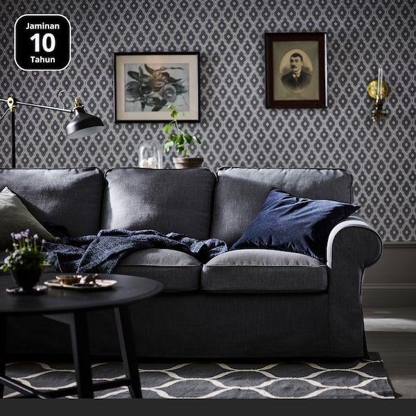 EKTORP Sarung sofa tiga tempat duduk kelabu gelap Nordvalla