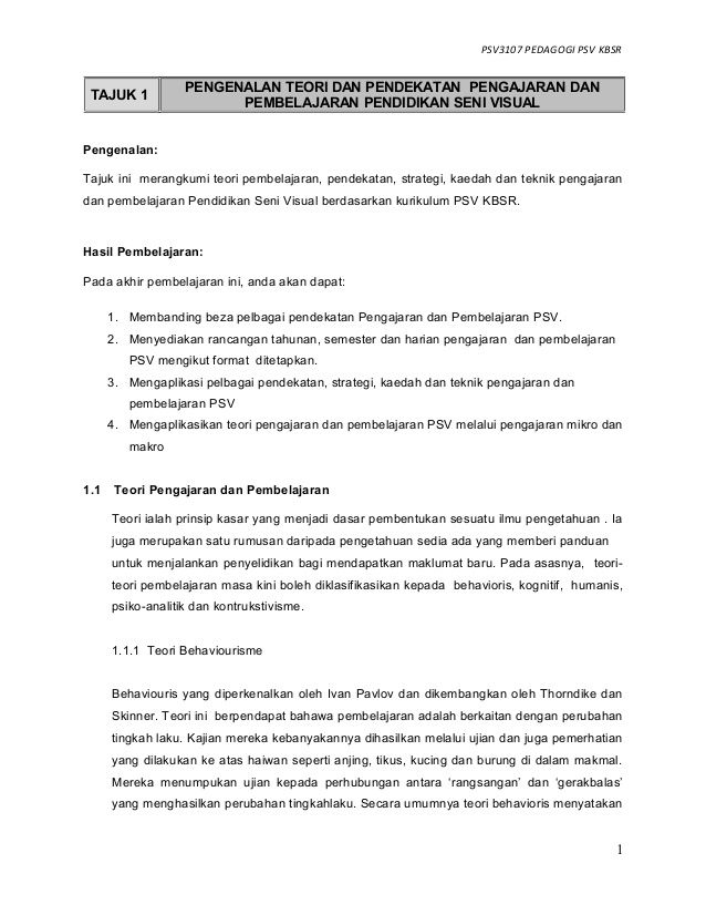 PSV3107 PEDAGOGI PSV KBSR Pengenalan Tajuk ini merangkumi teori pembelajaran pendekatan strategi