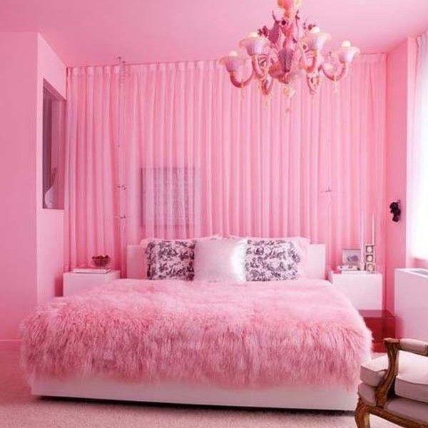 Bagaimana untuk reka bentuk dalaman bilik tidur merah jambu