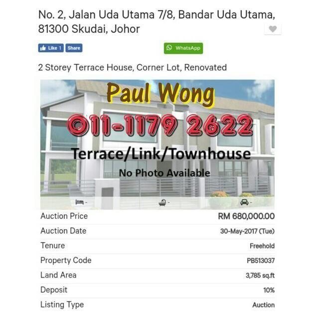 Susun atur Menarik Laman Rumah Teres Penting Bank Auction House 30 05 2017 Tuesday Johor Bahru