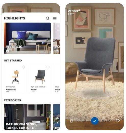 Bila bercakap tentang barang perabot di IKEA juga tidak terlepas pandang Carian visual membenarkan pengguna untuk meletak kamera pada sesuatu sudut