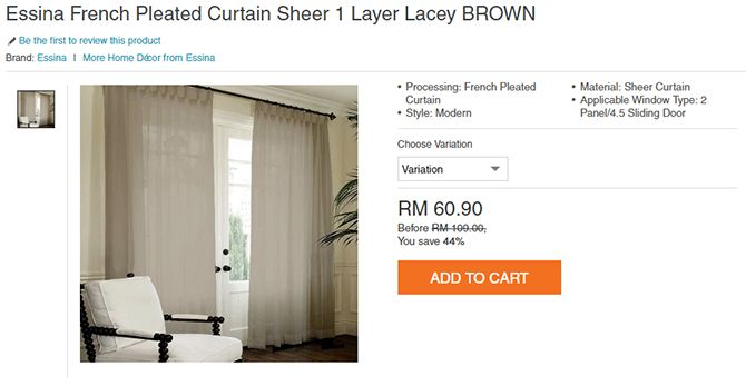 Essina French Pleated Curtain Sheer 1 Layer Lacey BROWN