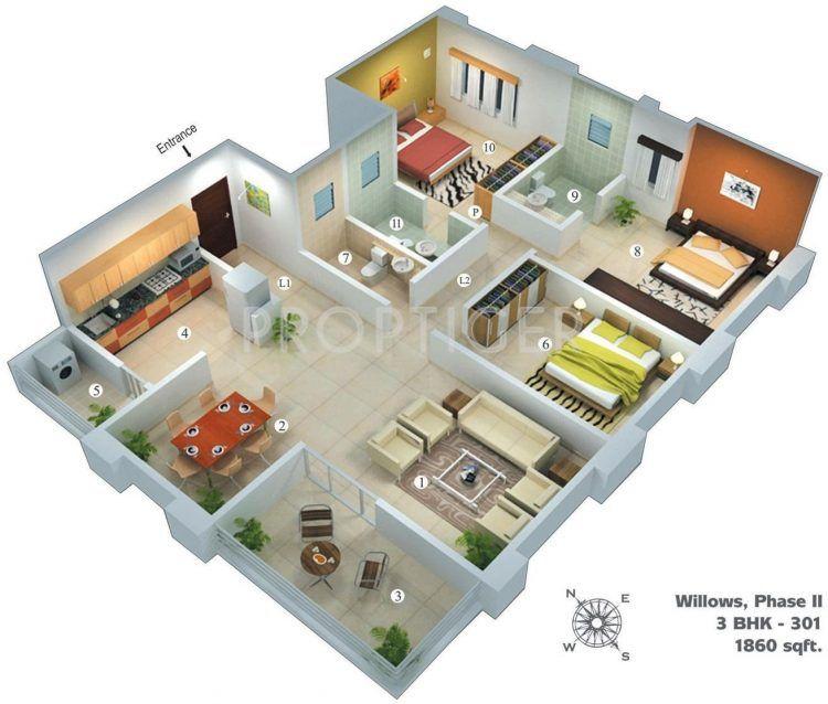 Cara Untuk Susun atur Menarik Rumah Kampung Terbaik √ 30 Denah Rumah Minimalis 3 Kamar Tidur Desain 1 Lantai