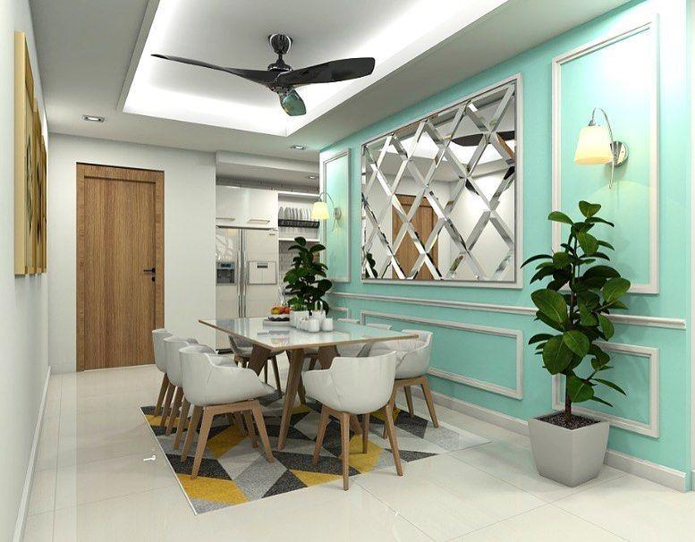 Wainscoting design with diamond mirror for Dining Area Hubungi kami untuk susun atur anda
