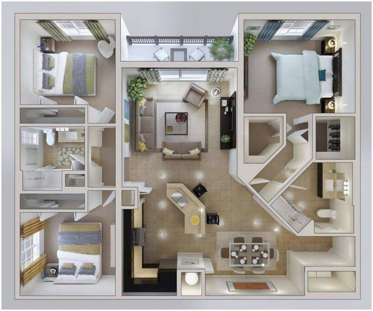 Cara Untuk Susun atur Menarik Warna Cat Rumah Hebat √ 30 Denah Rumah Minimalis 3 Kamar Tidur Desain 1 Lantai