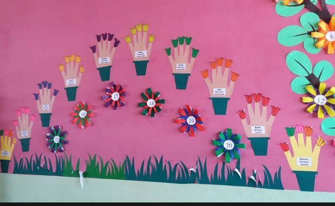 Tanjungpura Pontianak mencoba membuat suatu dekorasi berbentuk bunga yang bisa ditempel di dinding kelas tempat beliau mengajar Di dalam kreasi ini