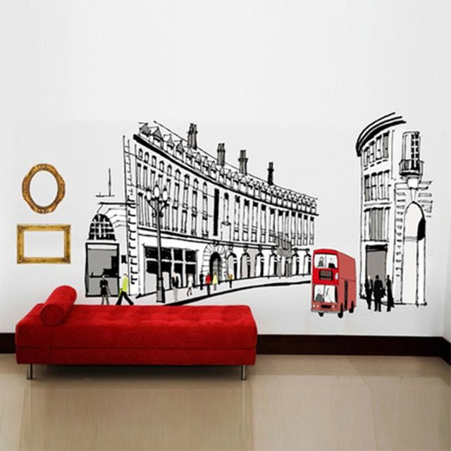 Eropa kreatif dinding stiker dekorasi stiker dinding ruang tamu kamar tidur asrama hangat romantis Roman jalan