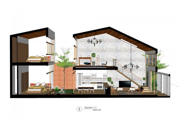 desain minimalis dua lantai dengan taman kecil di dalam