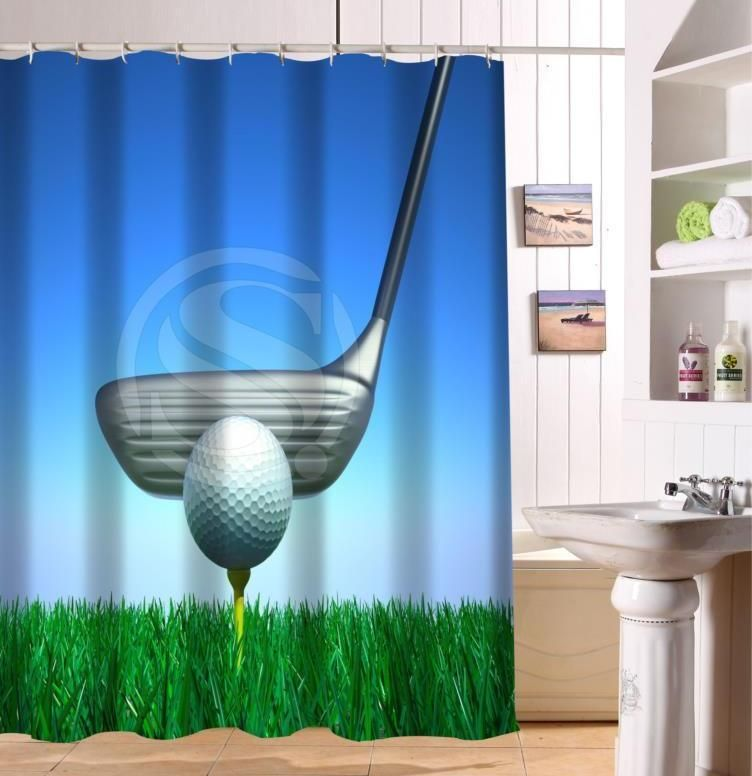 Dekorasi Hiasan Dalaman Terbaik Pusat Sumber Sekolah Menarik ᗔf516xy6 Kustom Bermain Golf Bola Kain Modern Tirai Mandi Mandi