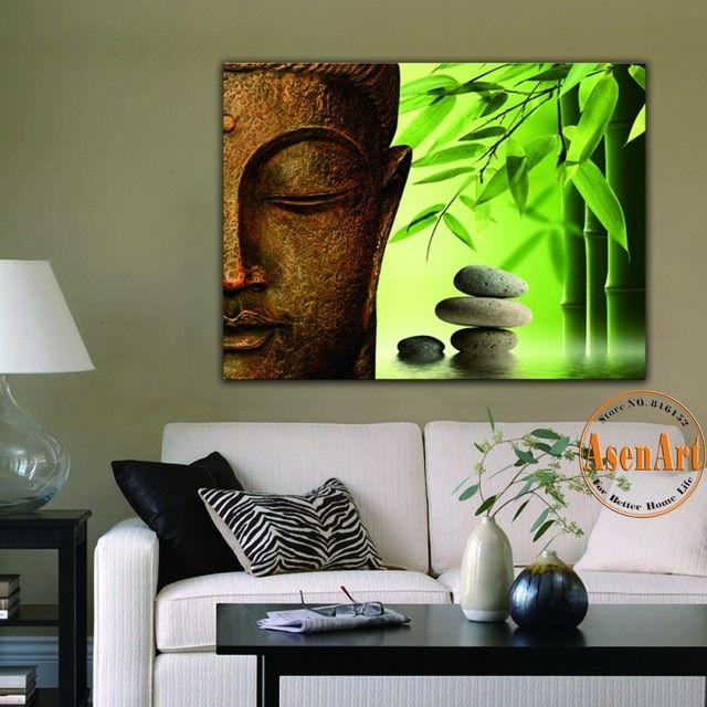 Dekorasi Hiasan Dalaman Terbaik Ruang Tamu Moden Kontemporari Terhebat Bambu Bunga Batu Buddha Kanvas Cetak Untuk Ruang Tamu Hiasan Dinding