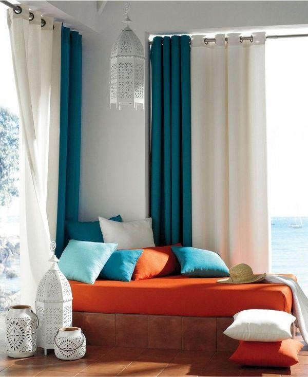 VIEW IN GALLERY Langsir moden turqoise dan putih untuk ruang lebih nyaman