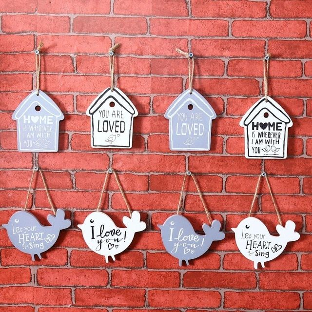 4 pc lot Pintu dekorasi Papan Gantungan hiasan Dinding Plak Home &