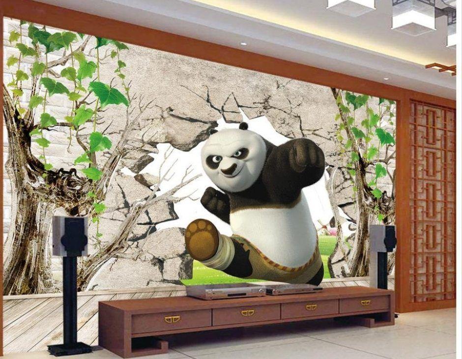 Hiasan Dalaman Rumah Kayu Bermanfaat Dekorasi 3d Kung Fu Panda 3d Foto Mural Wallpaper Untuk Ruang