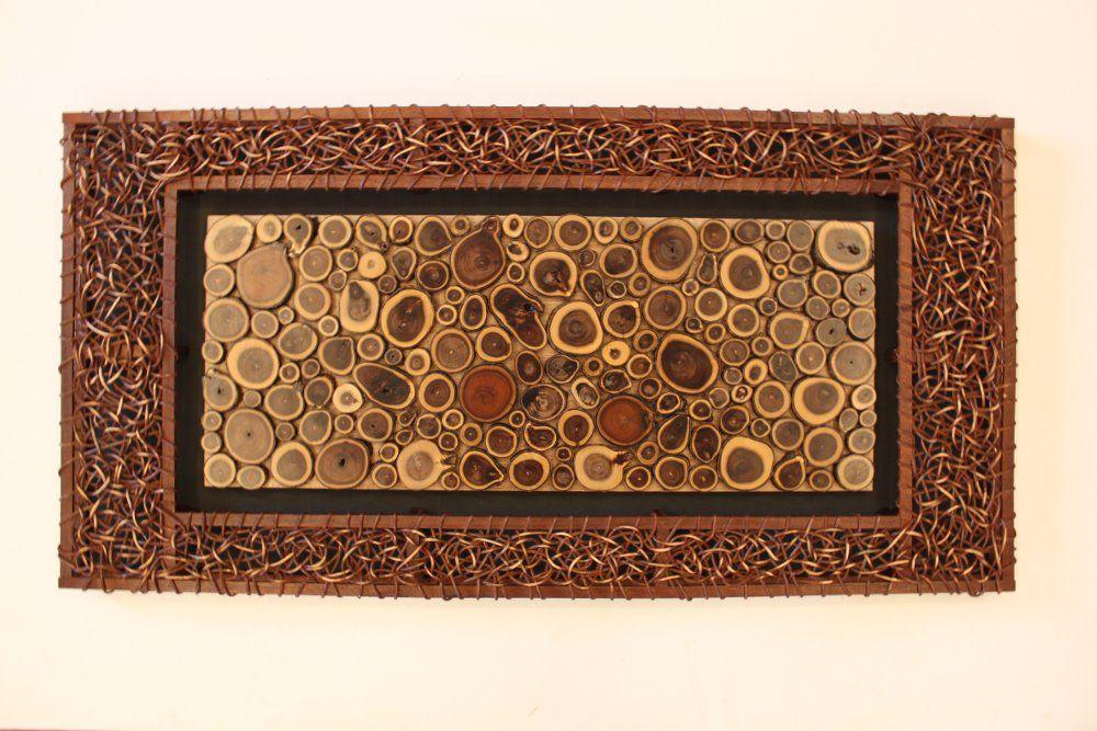 Hiasan Pajangan Dinding Frame Rotan Panel Dinding Kayu Acacia Bulat Wall Decoration