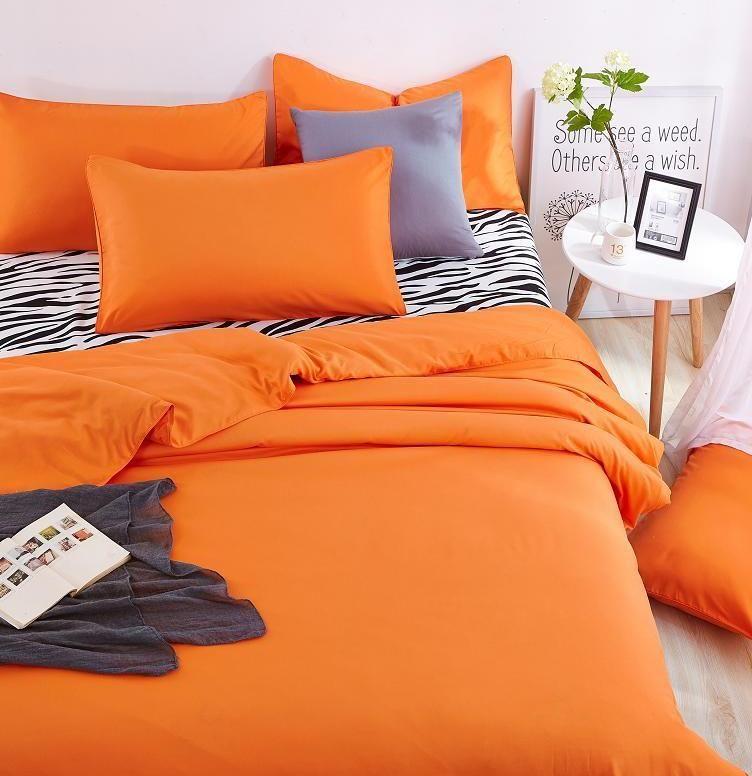 UNIKEA baru Kapas Tempat Tidur Rumah Set Zebra Duver Sprei dan Orange Selimut Penutup Sarung Bantal Lembut dan Nyaman Raja Ratu